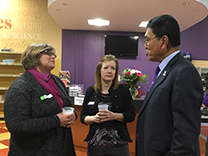 Laurel Shire and Michelle Hamilton with President Chakma