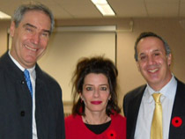 Pictured is Dr. Michael Ignatieff; History professor Monda Halpern, CAS Speakers' Series Coordinator; and Political Science professor Don Abelson, Director of the CAS and CUSI.
